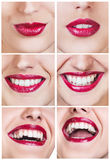 Collage of laughing woman with beautiful smile Stock Photography