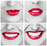 Collage of laughing woman with beautiful smile Royalty Free Stock Photos