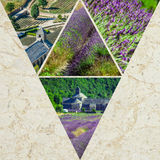 Collage of lavender in front of the abbaye de Senanque in Provence Stock Photography