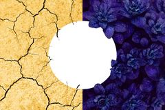 Collage of leaves and arid earth. Collage of beautiful proton purple leaves and arid yellow earth. Save the planet ecological concept with copyspace stock photos