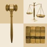Collage legale della giustizia di legge fotografia stock