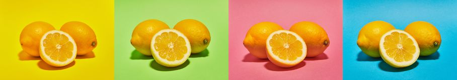Collage with Lemon on four different background such us: yellow, green, pink and blue collors . Food concept. Collage with Lemon on four different background stock photography