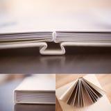 Collage: libro poner crema de la foto de la piel sintética Fotografía de archivo libre de regalías