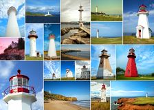 Collage of lighthouses. Collage of different lighthouses from all around the world royalty free stock photos