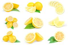 Collage of limons on a white background. Clipping path royalty free stock image