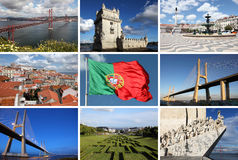 Collage of Lisbon sights. A collage of the main Lisbon sights showing the Alfama, the Padrao dos Descobrimentos and the Vasco da Gama Bridge royalty free stock images