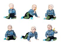 Collage a little boy in a plaid dress Royalty Free Stock Photo