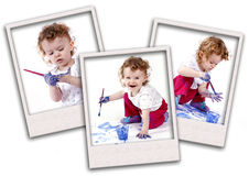 Collage of little child playing with watercolors Stock Image