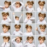 Collage of little cute girl with different emotions and gestures Royalty Free Stock Photos