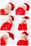 Collage of a little funny baby girl in a santa hat. And in a sack is having fun on the eve of Christmas Royalty Free Stock Photography