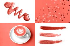Collage in Living Coral color. Trendy color concepf of the year. stock illustration