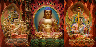 Collage of The Lord Buddha from Tooth Relic Temple Royalty Free Stock Image