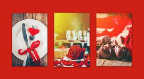 Collage of love and romance. Selective focus Stock Images