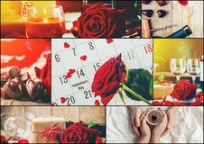 Collage of love and romance. Selective focus Stock Image