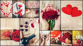 Collage of love and romance. Selective focus Royalty Free Stock Image