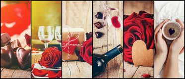 Collage of love and romance. Selective focus Stock Photo