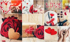 Collage of love and romance. Selective focus Royalty Free Stock Images