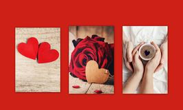 Collage of love and romance. Selective focus Royalty Free Stock Photography