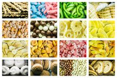 Collage luminoso delle caramelle multicolori dei fagioli di gelatina, dei frutti secchi dolci e delle pasticcerie dolci fresche immagine stock libera da diritti