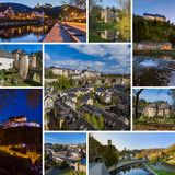 Collage of Luxembourg travel images my photos. Architecture background Stock Image