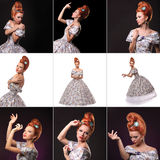 Collage of Luxury young beautiful woman in vintage victorian dress Royalty Free Stock Images