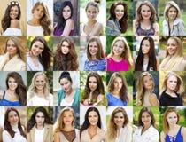 Collage lyckliga unga kvinnor royaltyfri fotografi