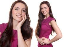 Collage lyckligt le för ung kvinna royaltyfria foton