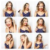 collage lyssnande musik till kvinnan Royaltyfri Foto