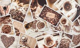 Collage många bilder av kaffe Royaltyfria Bilder
