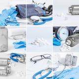 Collage médico de los objetos fotografía de archivo