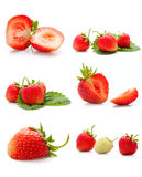 The collage made from the delicious  strawberries Stock Photo