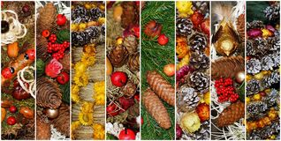 Collage made of fir and Christmas decorations Royalty Free Stock Photos