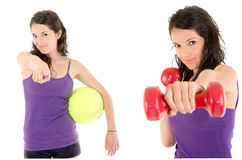 Collage made of girl practicing healthy lifestyle Royalty Free Stock Photo