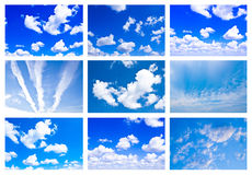 Collage made of many white fluffy clouds Royalty Free Stock Photo