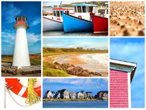Collage about Magdalen island in Canada Stock Photos