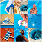Collage maintenance of a private pool Stock Photography