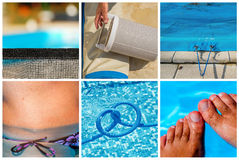 Collage maintenance of a private pool Stock Images