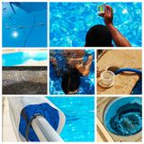 Collage maintenance of a private pool Royalty Free Stock Photography
