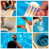 Collage maintenance of a private pool Stock Image