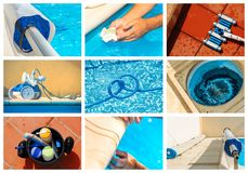 Collage maintenance of a private pool Royalty Free Stock Photos