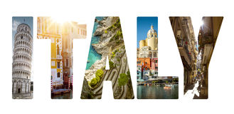 Collage of major Italian travel destinations Royalty Free Stock Photos