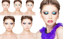 Collage of make-up steps on beautiful model isolated on white Royalty Free Stock Images