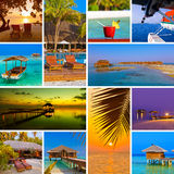 Collage of Maldives beach images (my photos) Royalty Free Stock Images