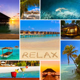Collage of Maldives beach images (my photos) Stock Images