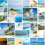 Collage from maldives on white ceramic mosaic tile Royalty Free Stock Image