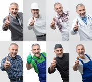 Collage of professional workers portraits stock images