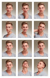 Collage of male teenager portraits. On neutral background Stock Images