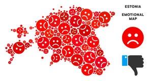 Collage malheureux de carte de l'Estonie de vecteur des smiley tristes illustration de vecteur