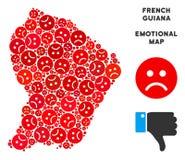 Collage malheureux de carte de la Guyane française française de vecteur d'Emojis triste illustration de vecteur