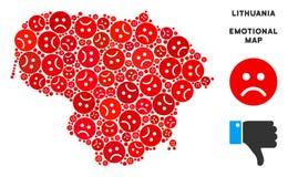 Collage malheureux de carte de la Lithuanie de vecteur d'Emojis triste illustration libre de droits